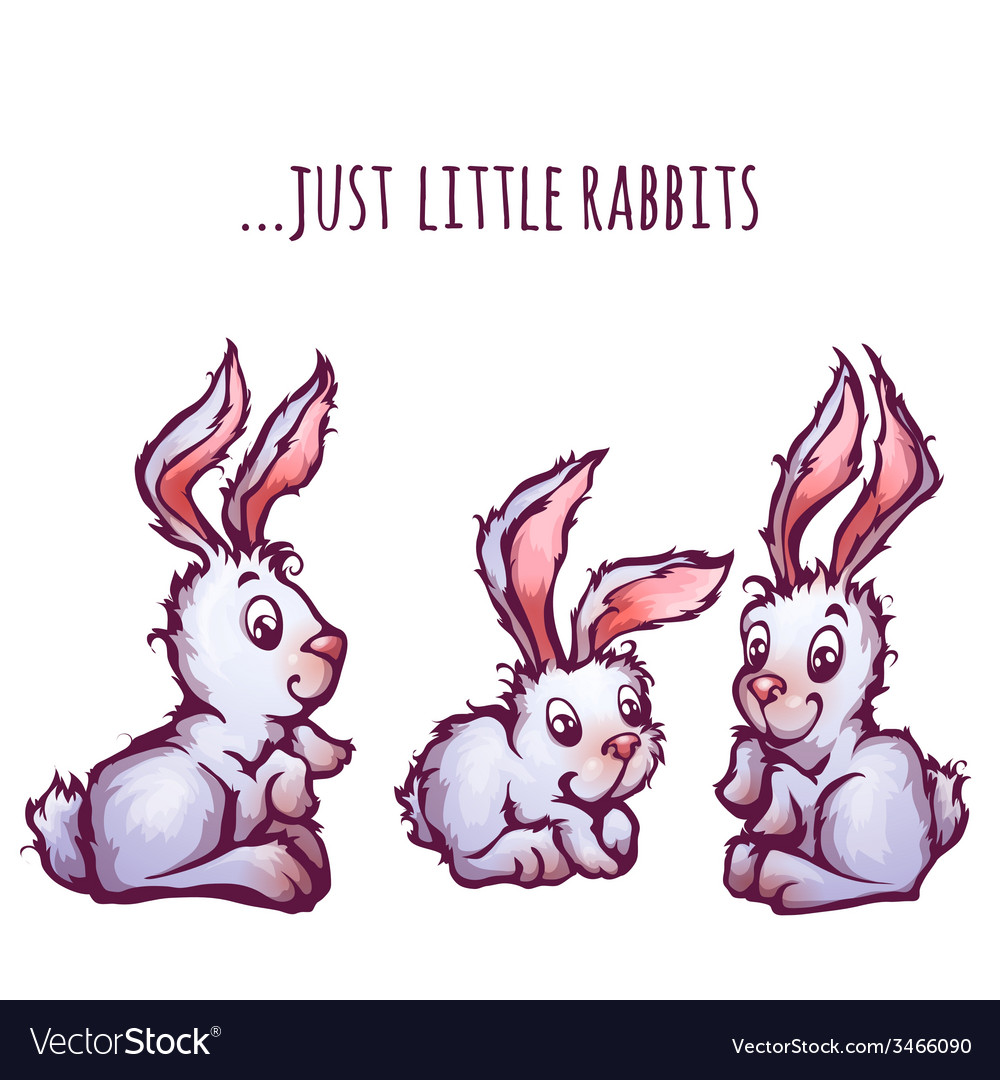 Set of cartoon cute rabbits vector | Price: 3 Credit (USD $3)