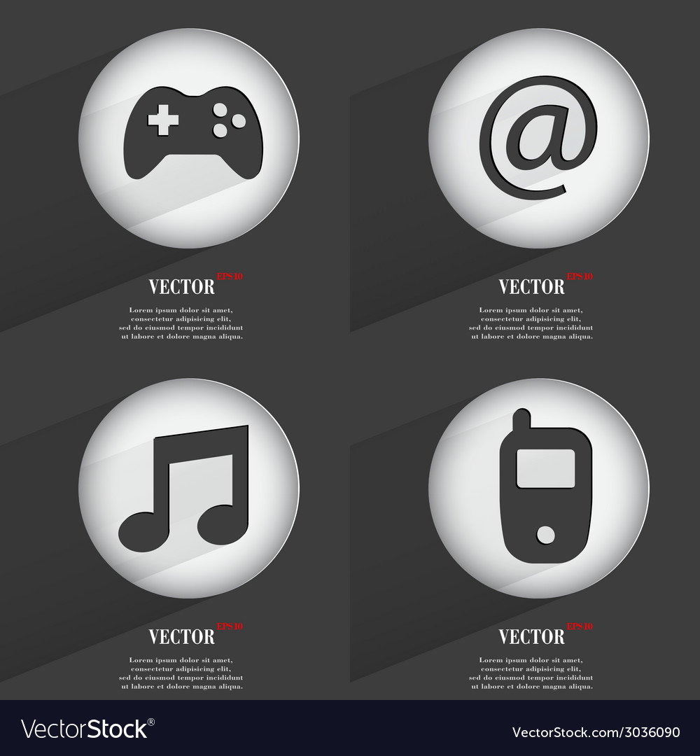 Set of trendy buttons icons with long shadow vector | Price: 1 Credit (USD $1)