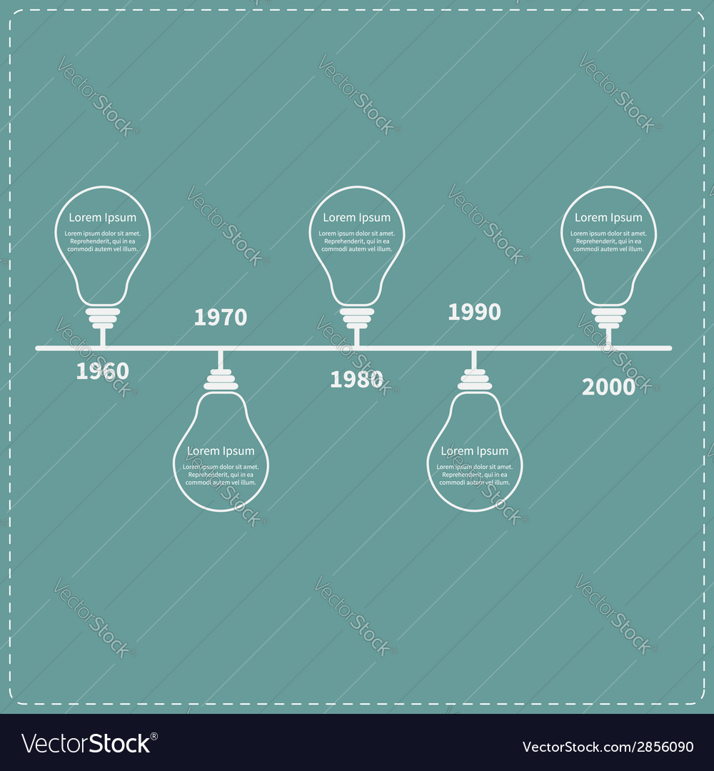 Timeline infographic with light idea bulb and text vector | Price: 1 Credit (USD $1)