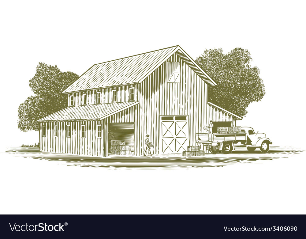 Woodcut farm work scene vector | Price: 1 Credit (USD $1)
