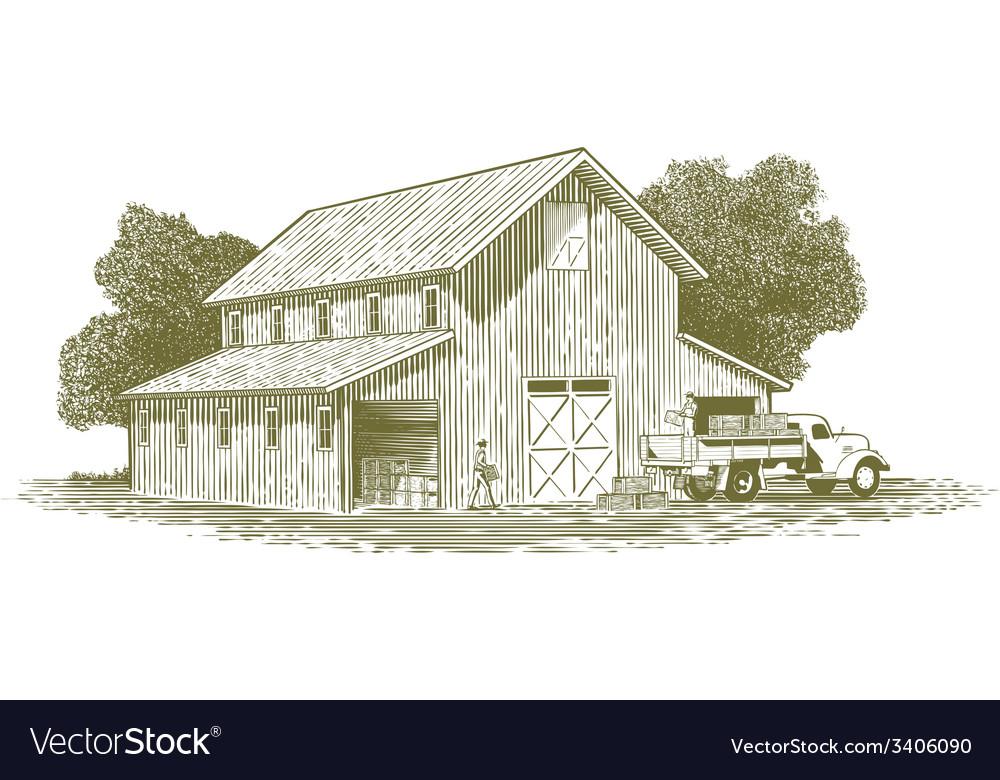 Woodcut farm work scene vector | Price: 1 Credit (USD $1)