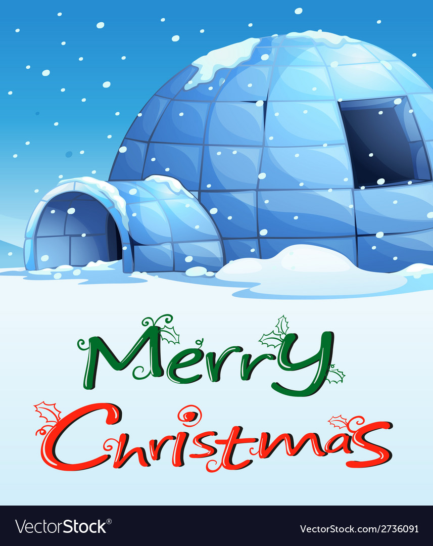 A christmas template with an igloo vector | Price: 1 Credit (USD $1)