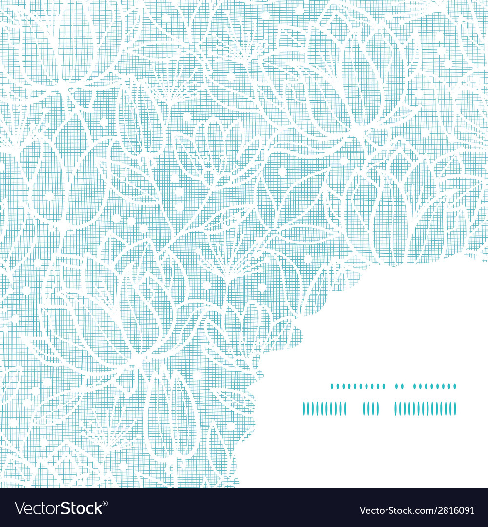 Blue lace flowers textile frame corner pattern vector | Price: 1 Credit (USD $1)