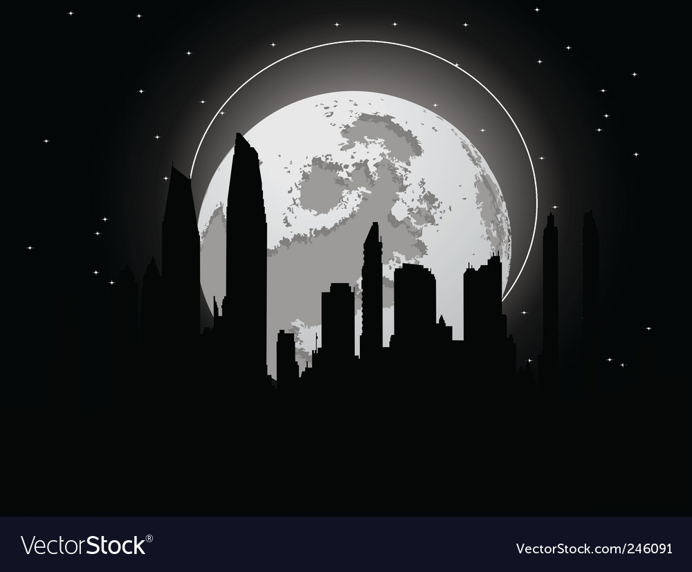 Cityscape with moon vector | Price: 1 Credit (USD $1)