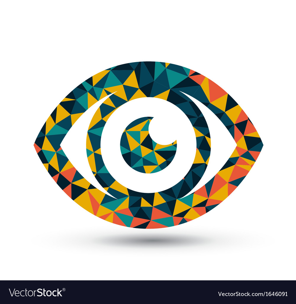 Colorful eye triangle pattern design vector | Price: 1 Credit (USD $1)