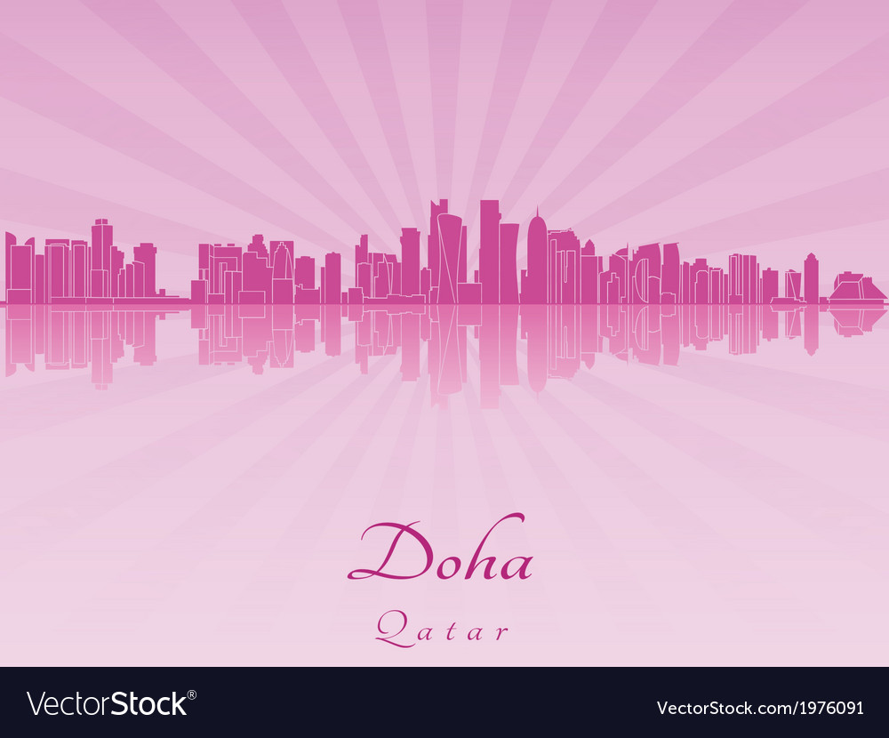 Doha skyline in purple radiant orchid vector | Price: 1 Credit (USD $1)