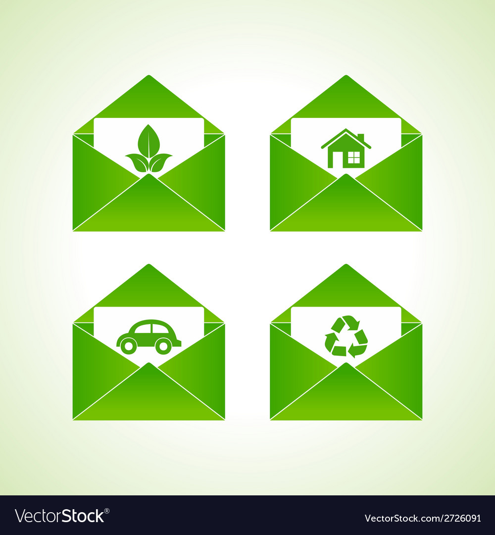 Ecology symbols with envelope vector | Price: 1 Credit (USD $1)