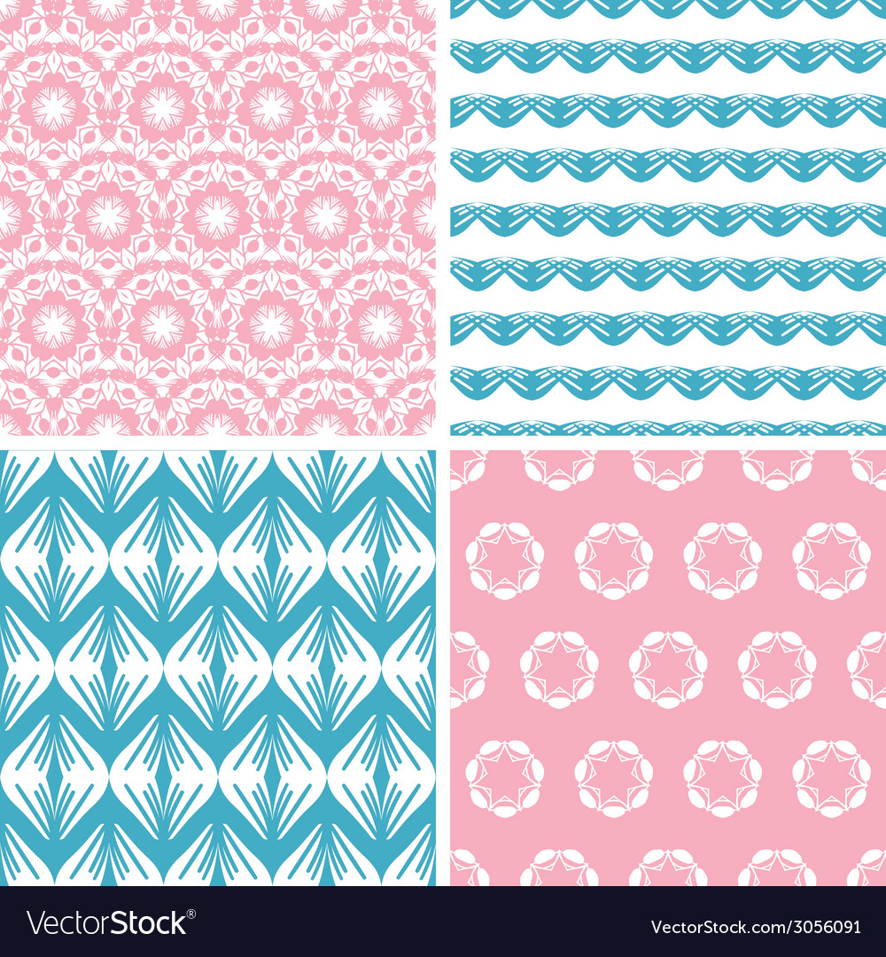 Four abstract pink blue folk motives seamless vector | Price: 1 Credit (USD $1)