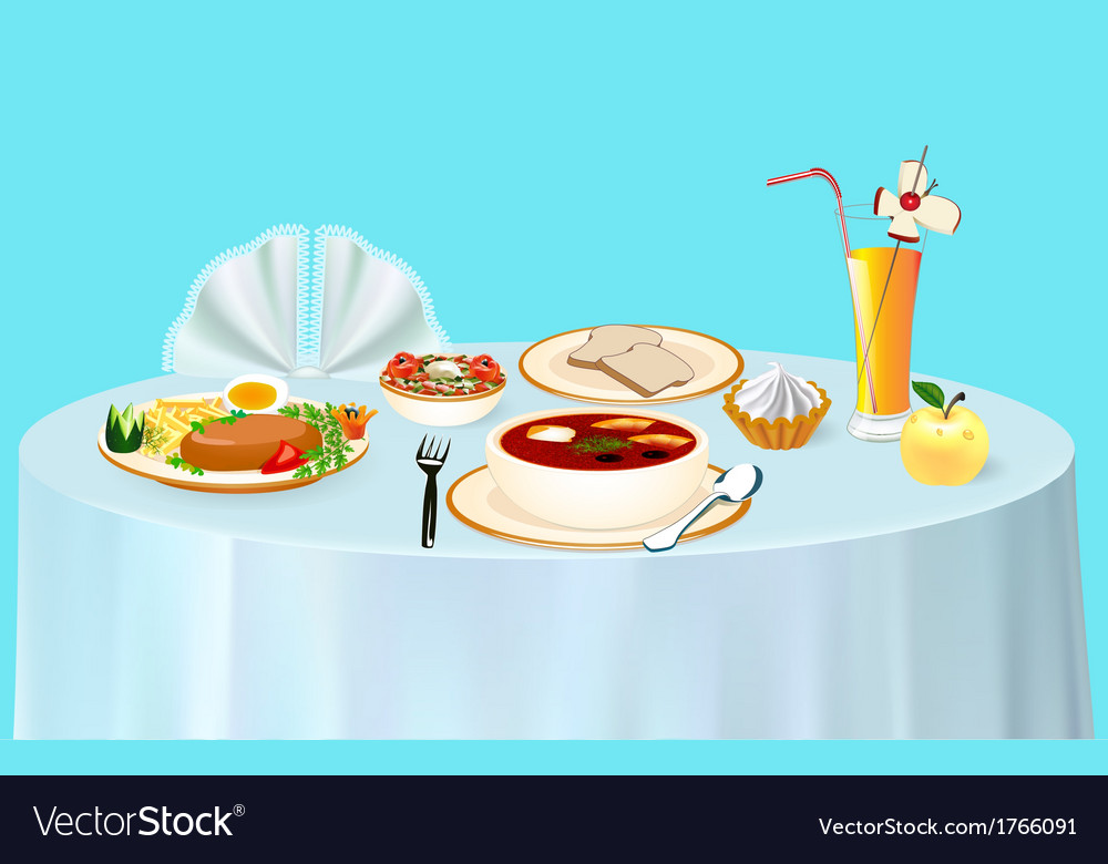 Lunch on the table chicken vector | Price: 1 Credit (USD $1)