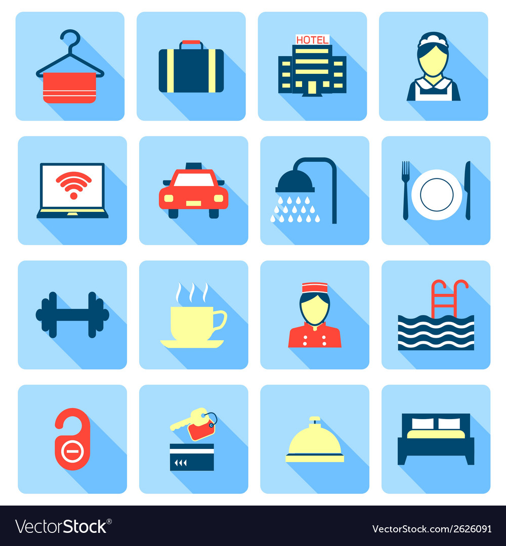 Set of hotel icons vector | Price: 1 Credit (USD $1)