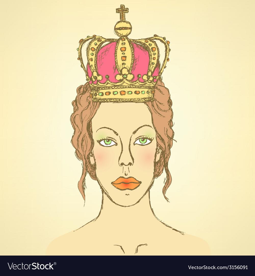 Sketch cute woman in crown vector | Price: 1 Credit (USD $1)