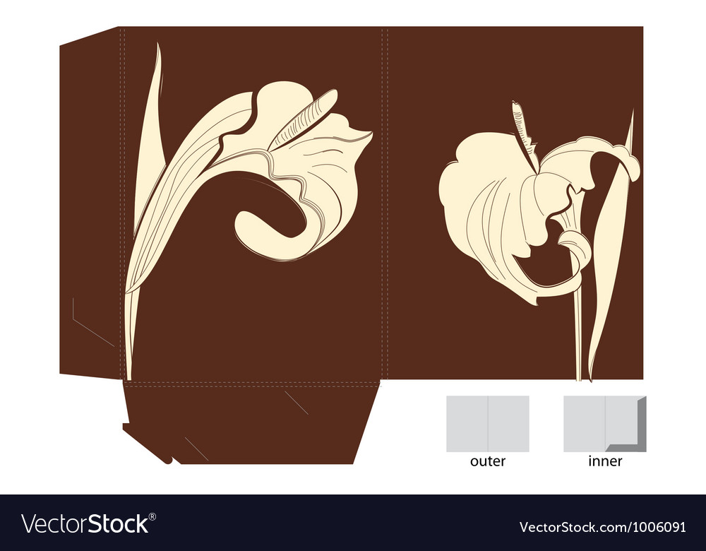 Template for folder with calla lily flowers vector | Price: 1 Credit (USD $1)