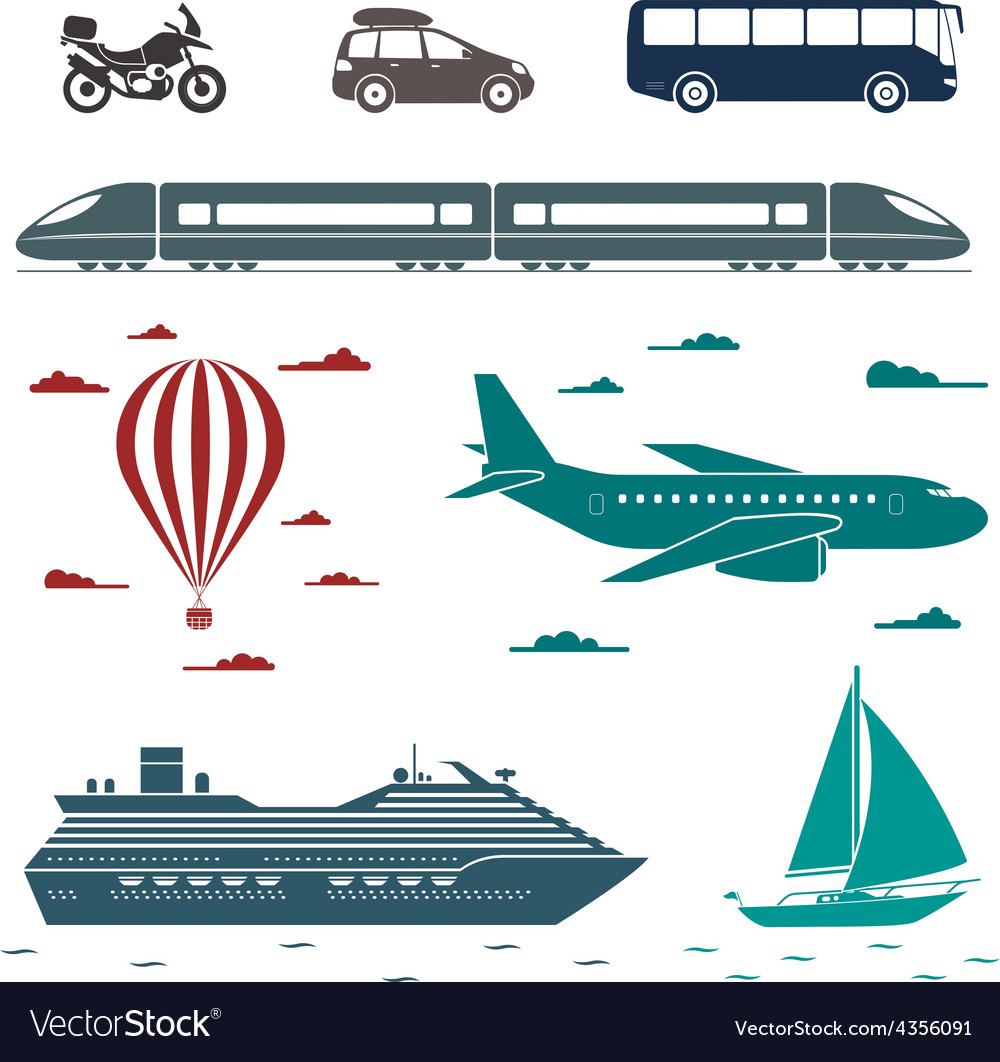 Transportation icons set of different means of vector | Price: 1 Credit (USD $1)