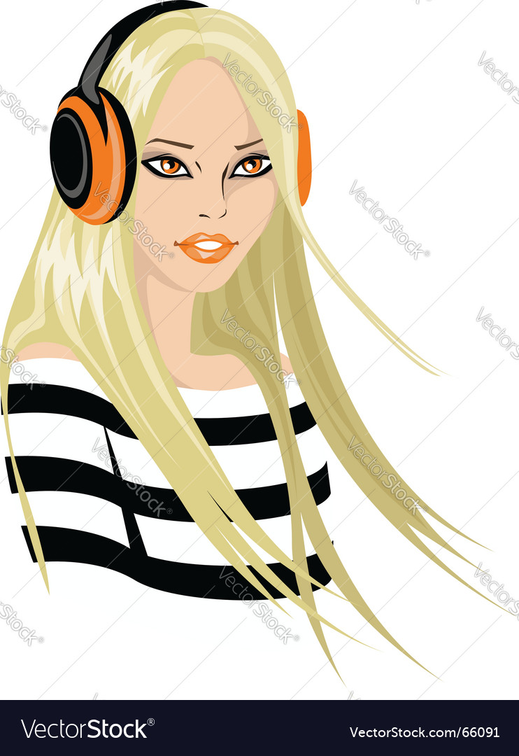 Woman in headphones vector | Price: 3 Credit (USD $3)