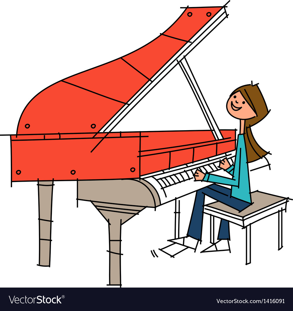 Woman pianist vector | Price: 1 Credit (USD $1)