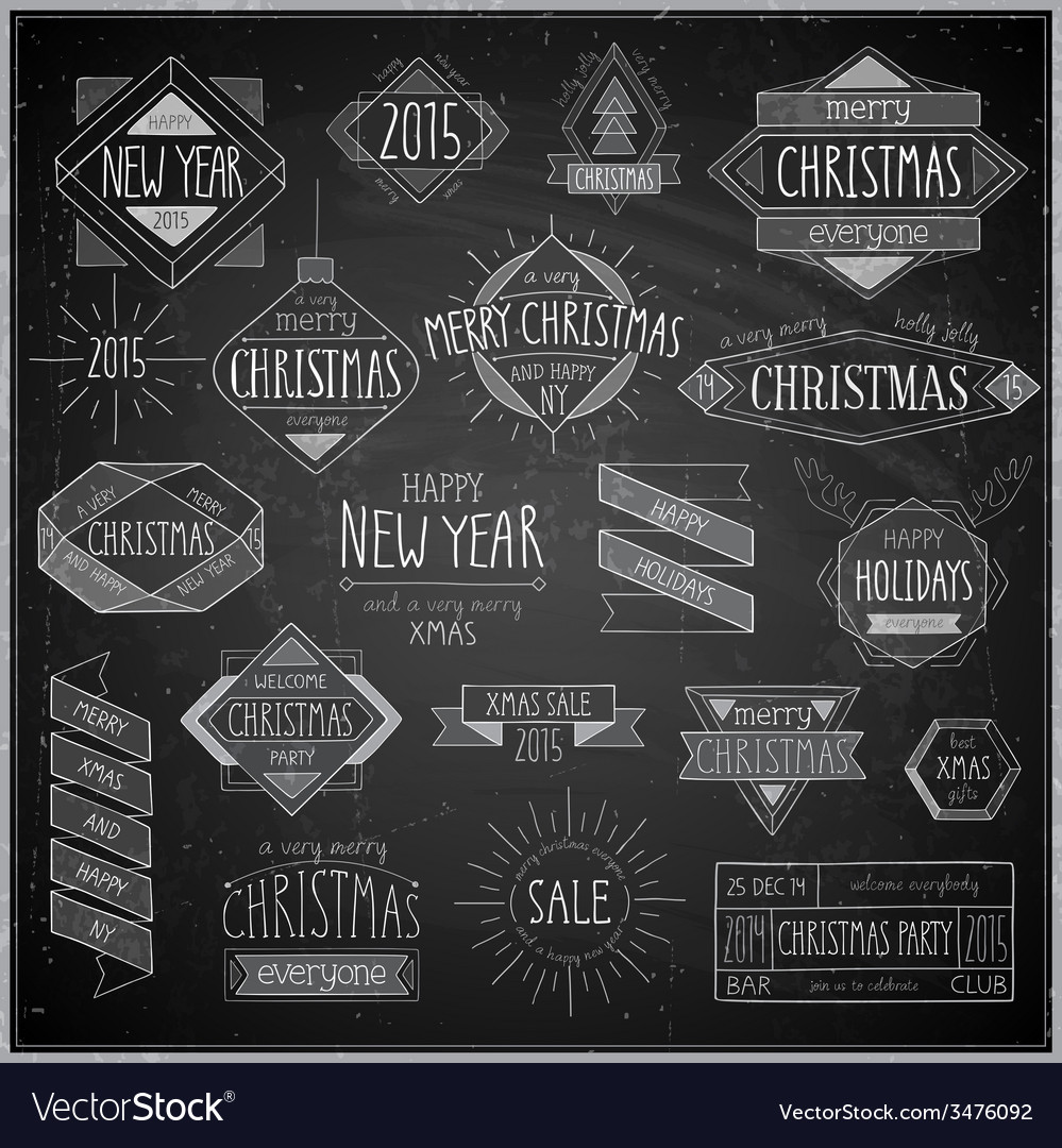Hip xmas emblems chalkboard vector | Price: 1 Credit (USD $1)