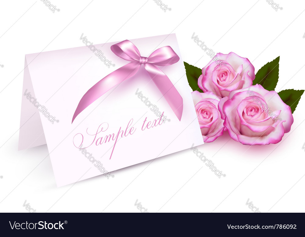 Pink roses card vector | Price: 1 Credit (USD $1)