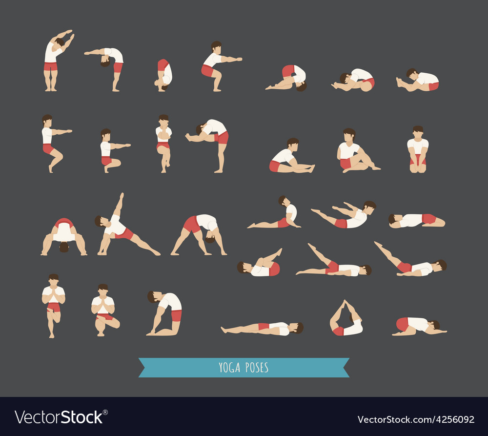 Set of yoga poses vector | Price: 1 Credit (USD $1)