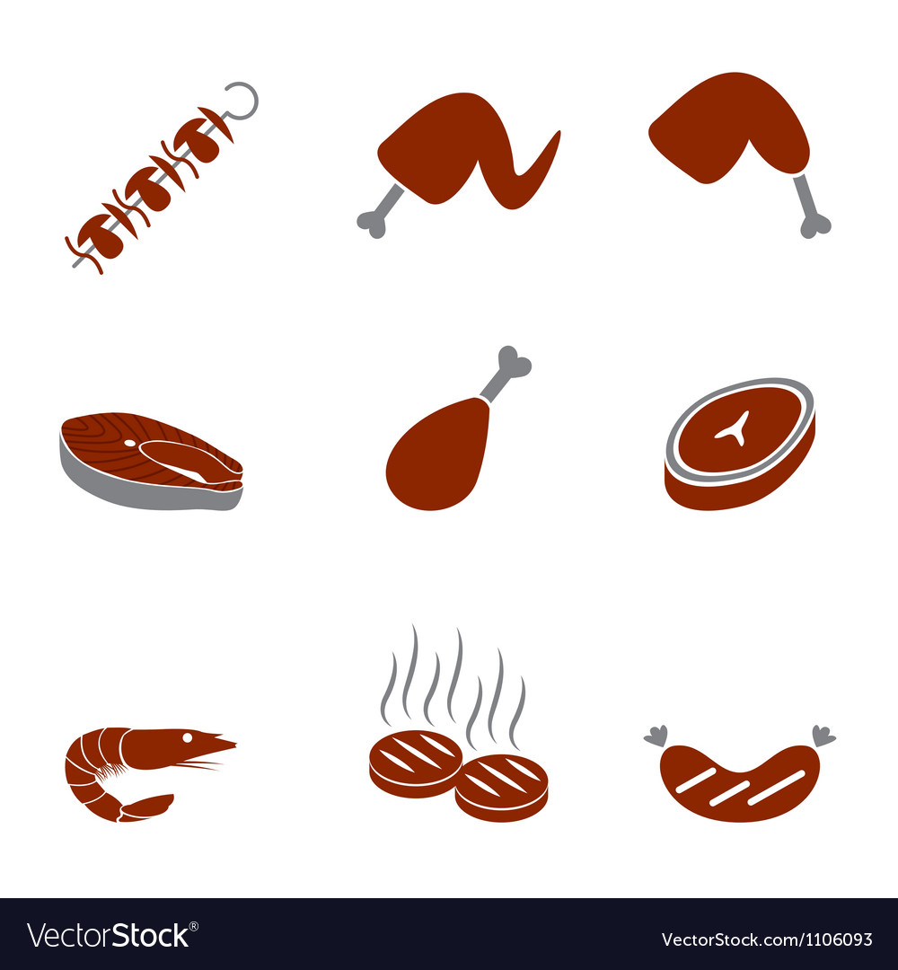 Barbeque icons set elegant vector | Price: 1 Credit (USD $1)