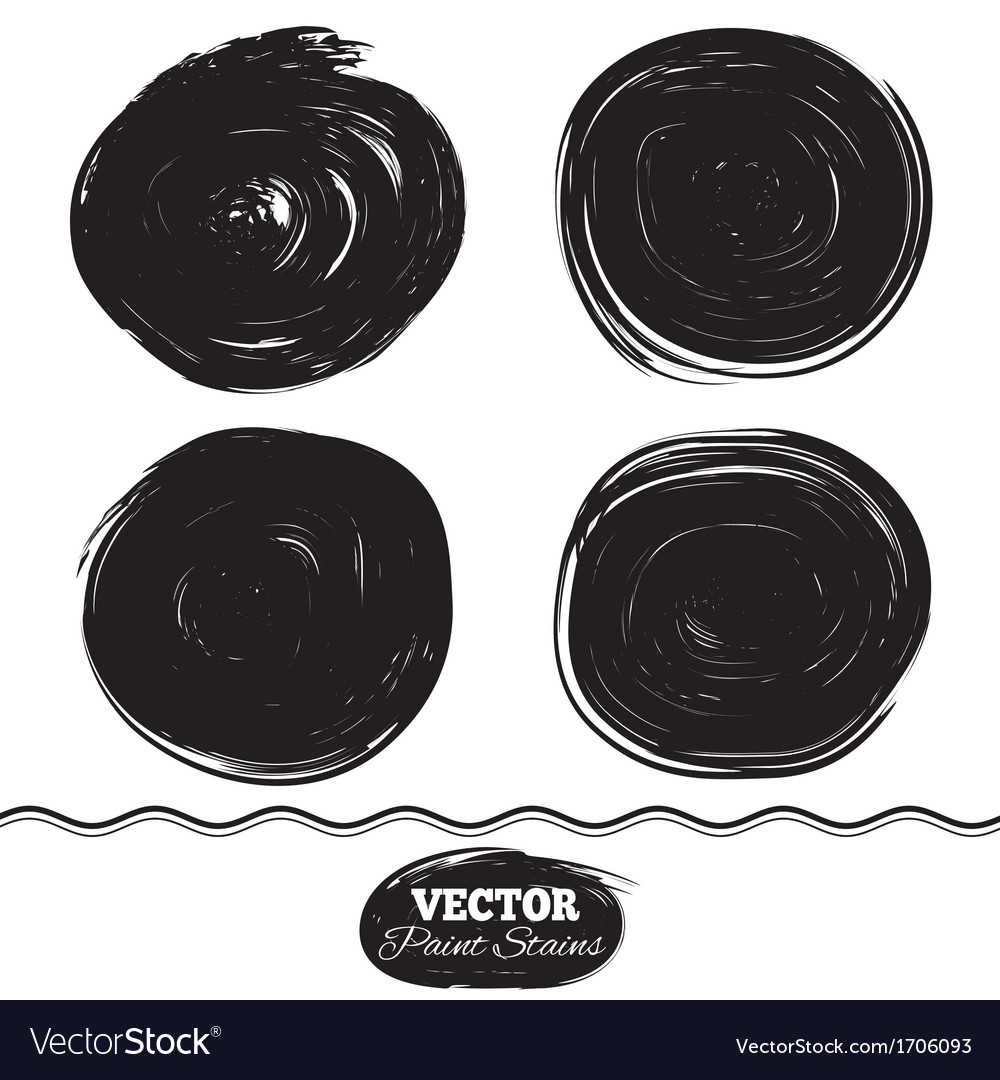 Black paint spots set ink brush circle set vector | Price: 1 Credit (USD $1)