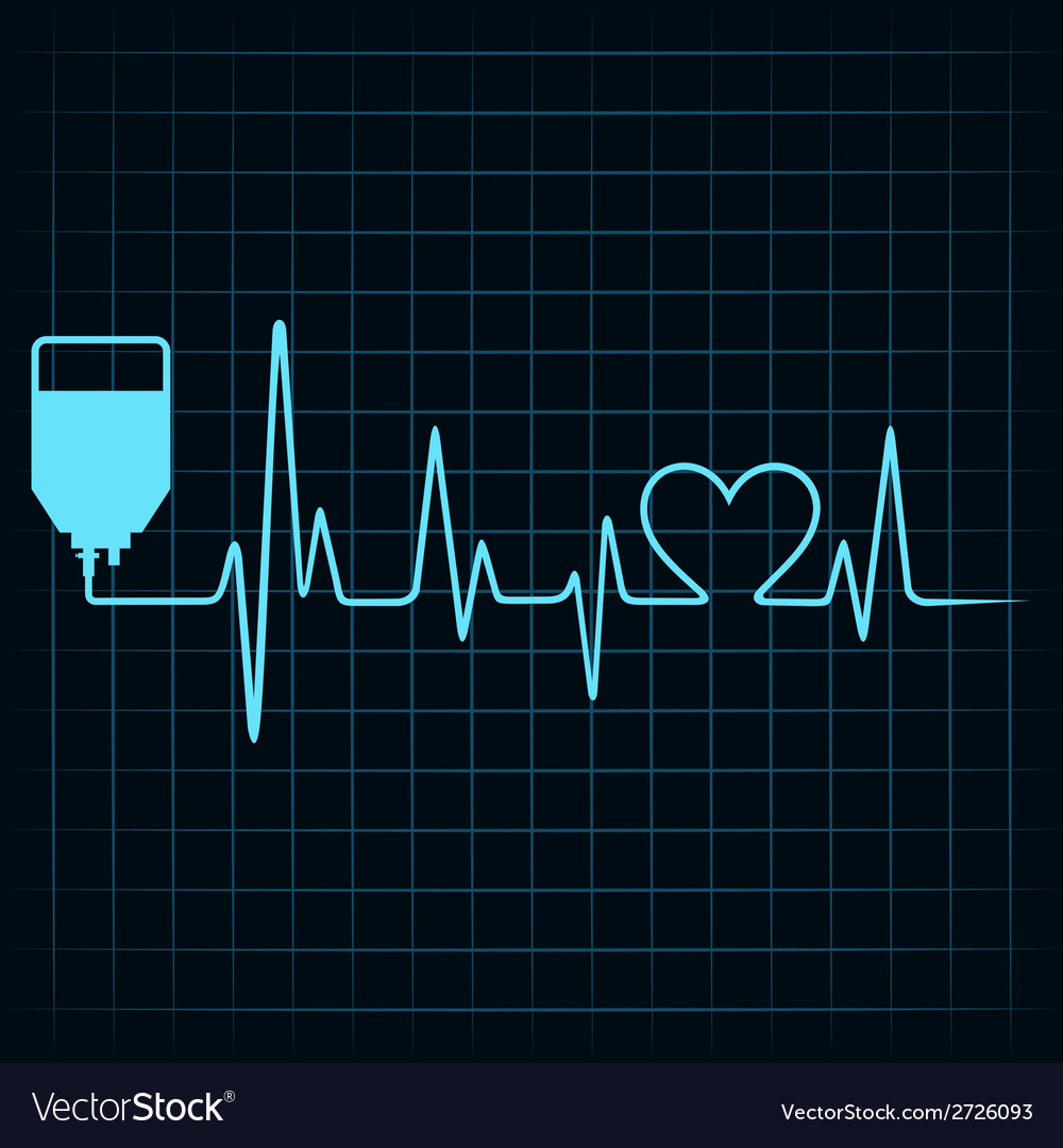 Blood donation concept with heartbeat vector | Price: 1 Credit (USD $1)