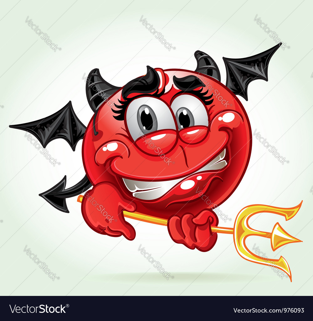 Cheerful smile in costume devil with a pitchfork vector | Price: 3 Credit (USD $3)