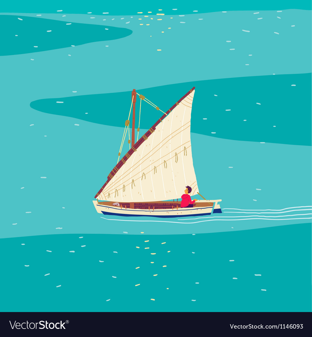 Fisherman sailboat vector | Price: 1 Credit (USD $1)