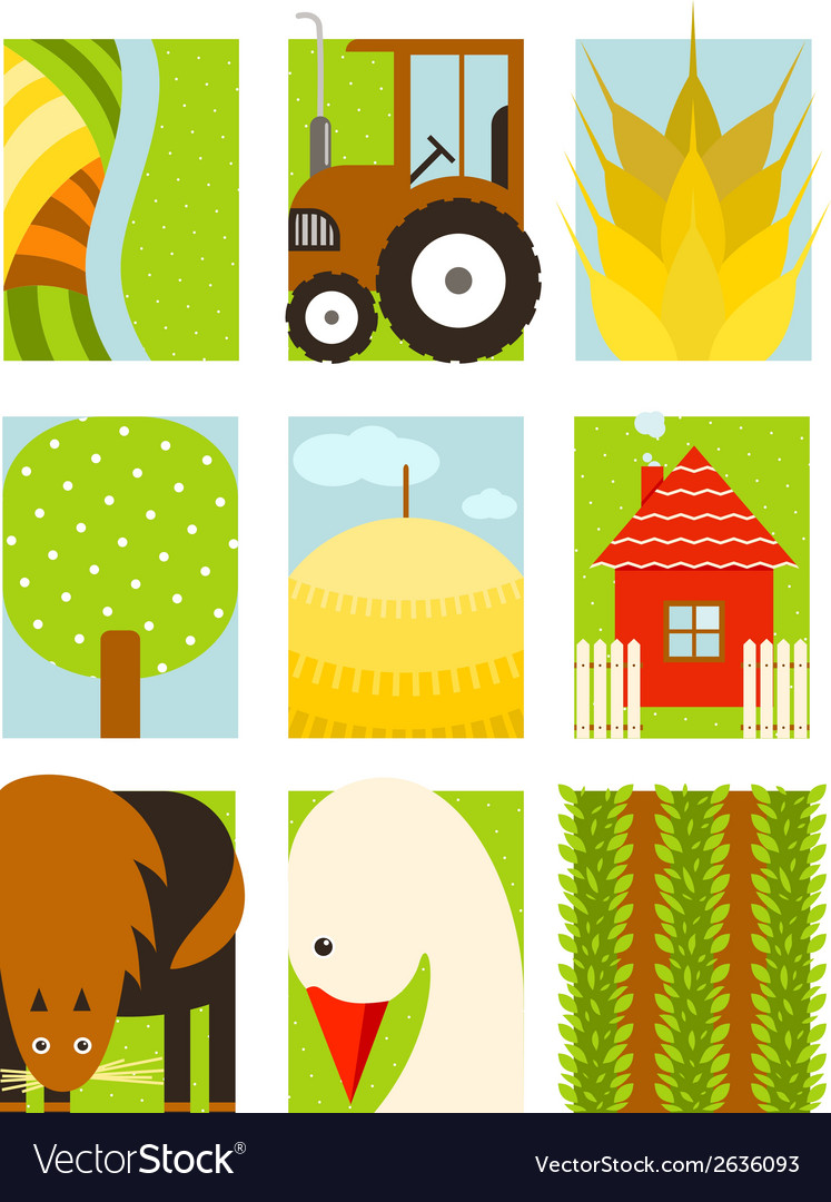 Flat childish rectangular agriculture farm set vector | Price: 1 Credit (USD $1)