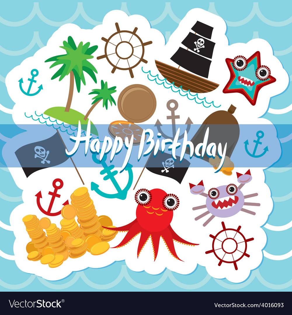 Happy birthday card pirate cute party invitation vector | Price: 1 Credit (USD $1)