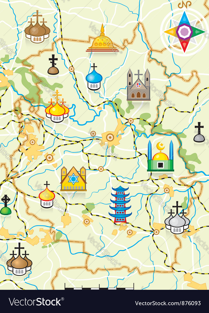 Map of the country with religious landmarks vector | Price: 1 Credit (USD $1)