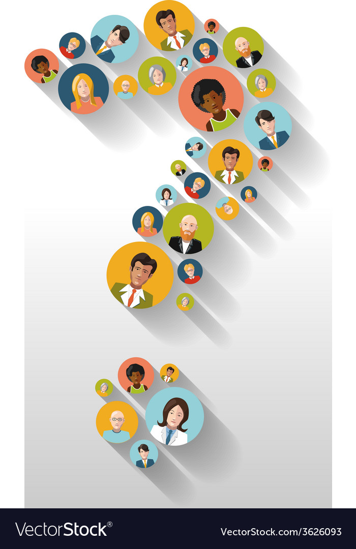 Question mark made up of people with avatars long vector | Price: 1 Credit (USD $1)