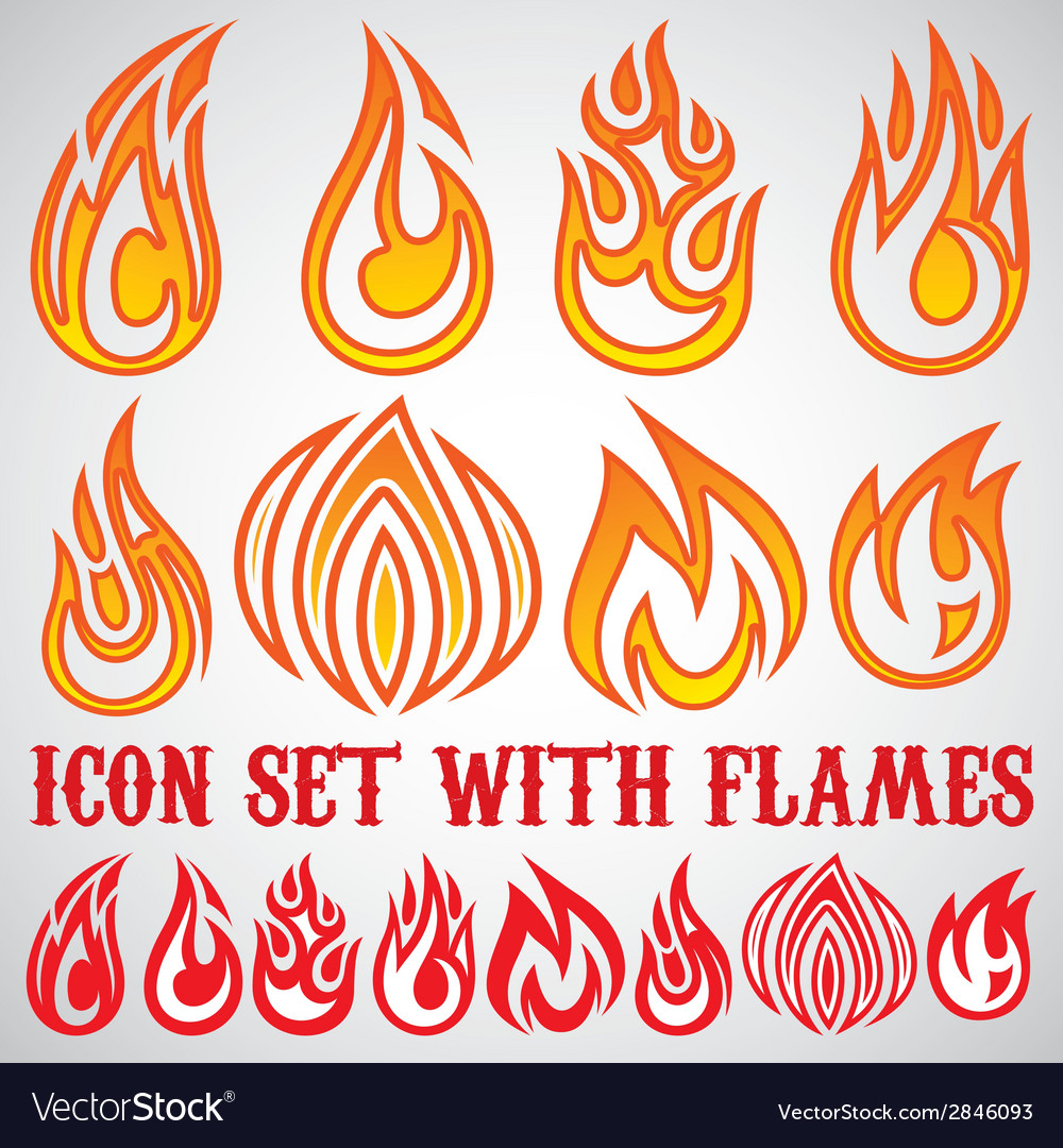 Set of stylized icons with flames vector | Price: 1 Credit (USD $1)
