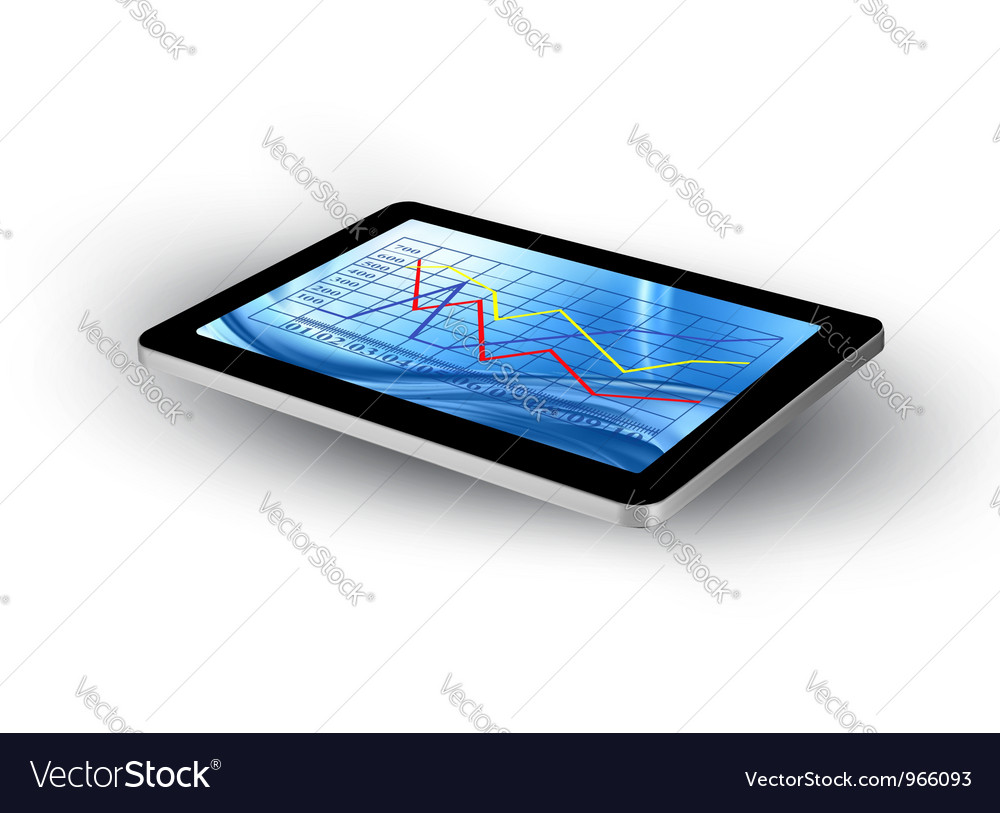 Tablet screen with graph vector | Price: 1 Credit (USD $1)