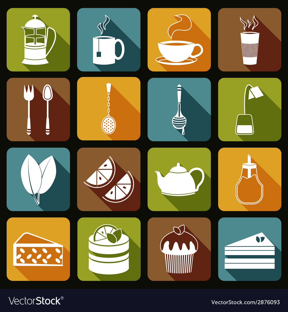 Tea icons set flat vector | Price: 1 Credit (USD $1)