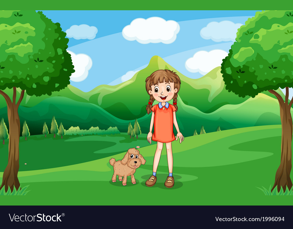 A young girl and her puppy at the hill vector | Price: 3 Credit (USD $3)