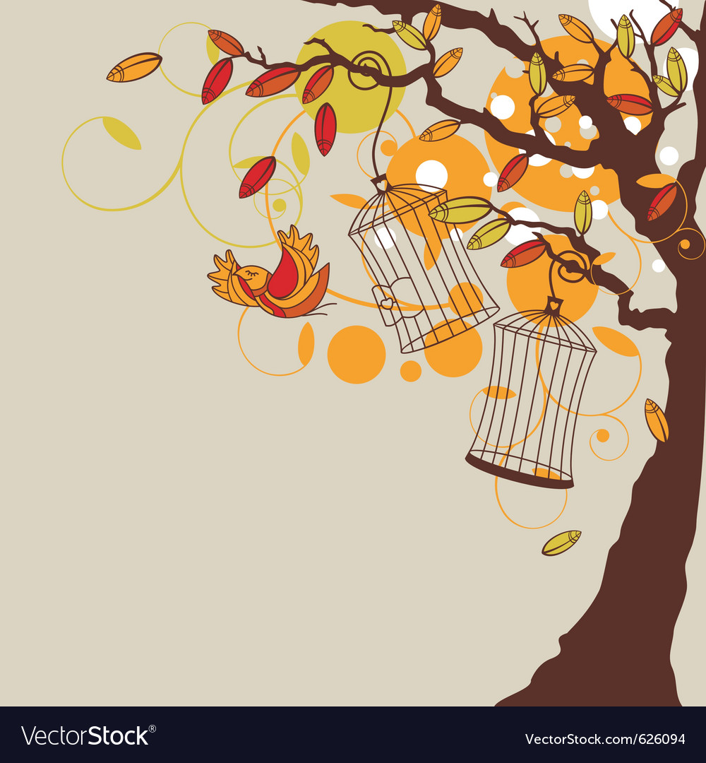 Abstract autumn background with tree vector | Price: 1 Credit (USD $1)