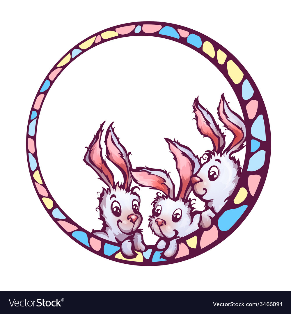 Banner with cute cartoon rabbits vector | Price: 3 Credit (USD $3)