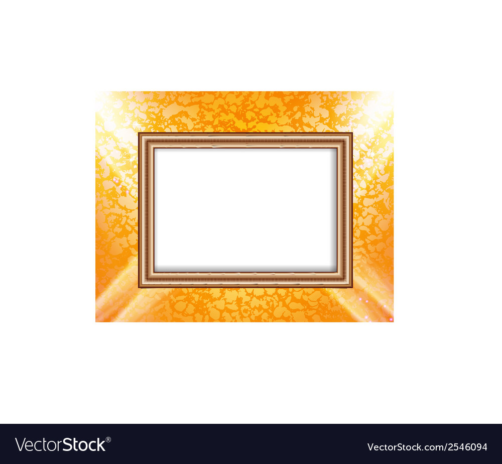 Blank frame on a colored wall lighting spotlights vector | Price: 1 Credit (USD $1)