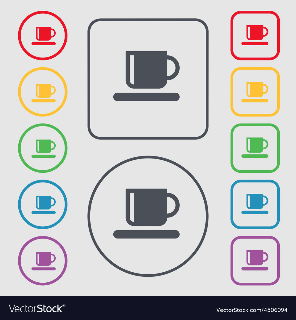 Coffee cup icon sign symbol on the round and vector | Price: 1 Credit (USD $1)