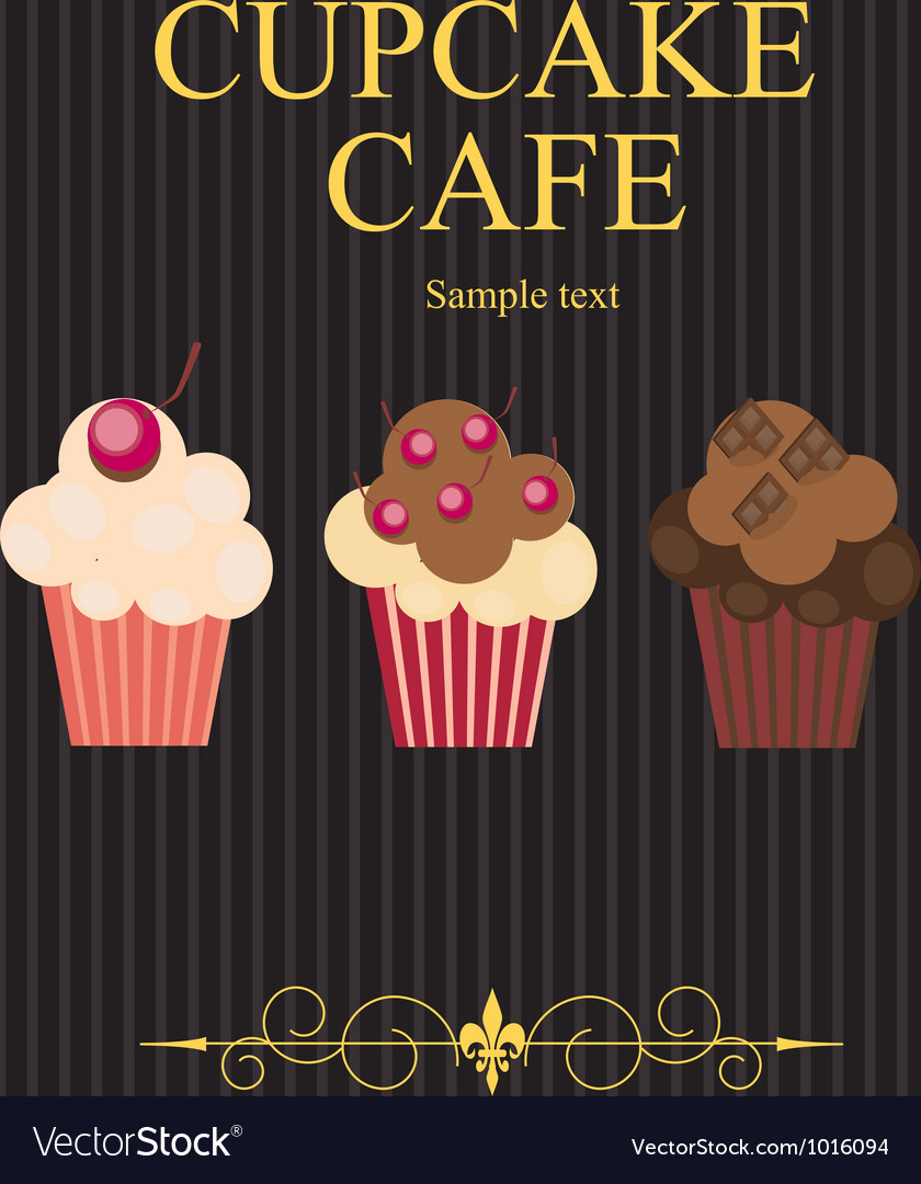 The concept of cupcakes cafe menu vector   Price: 1 Credit (USD $1)