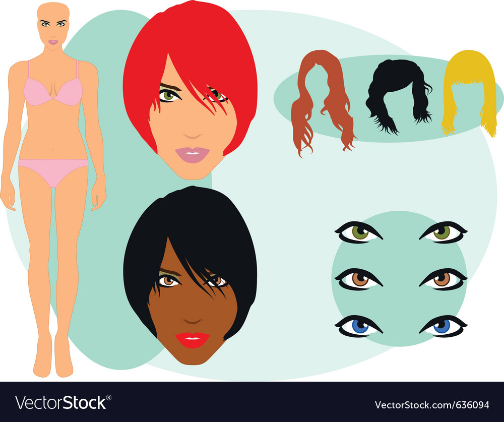 Female model set vector | Price: 1 Credit (USD $1)