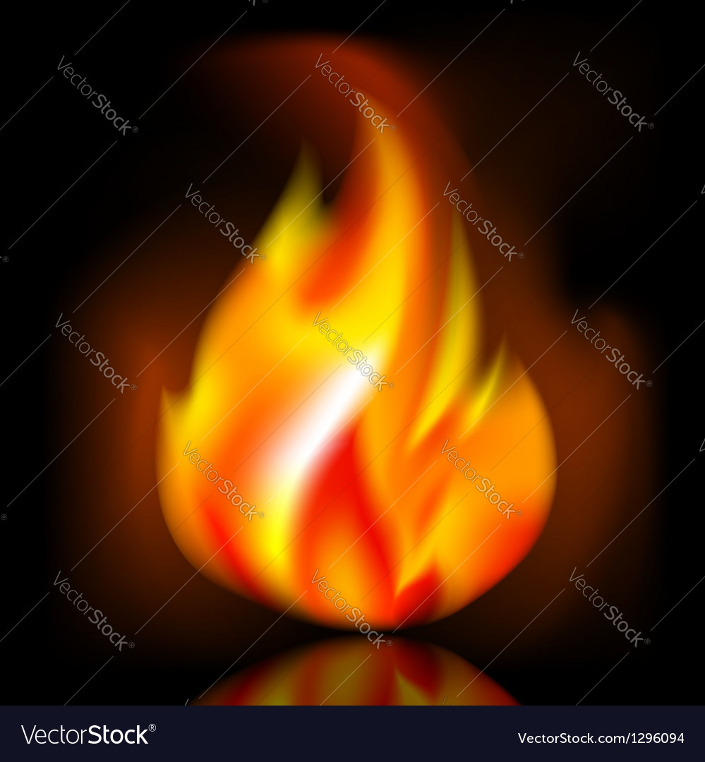 Fire bright flame on dark background vector | Price: 1 Credit (USD $1)