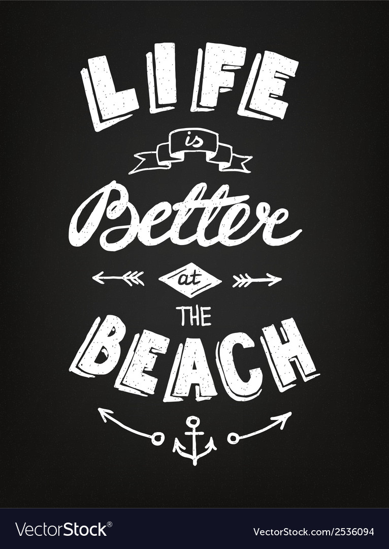 Hand drawn summer poster on the blackboard vector | Price: 1 Credit (USD $1)