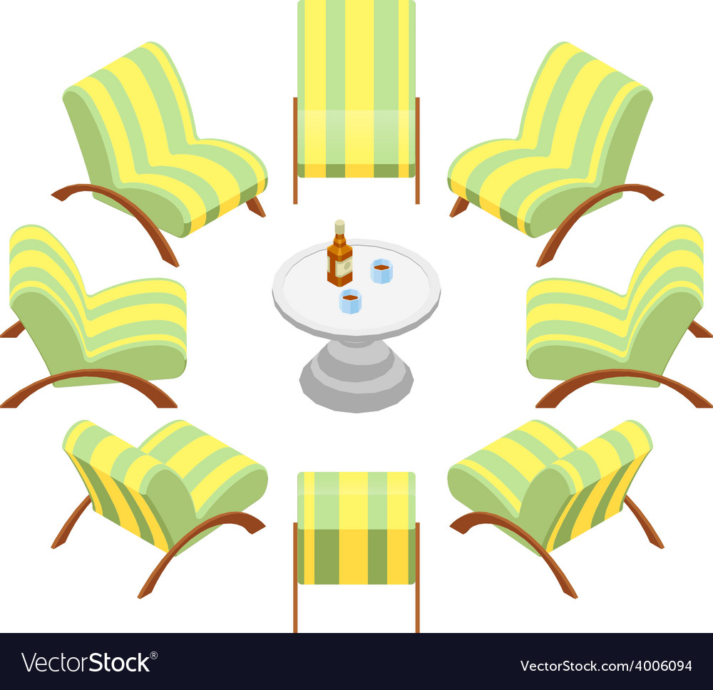Isometric armchairs with wooden armrests and a vector | Price: 1 Credit (USD $1)