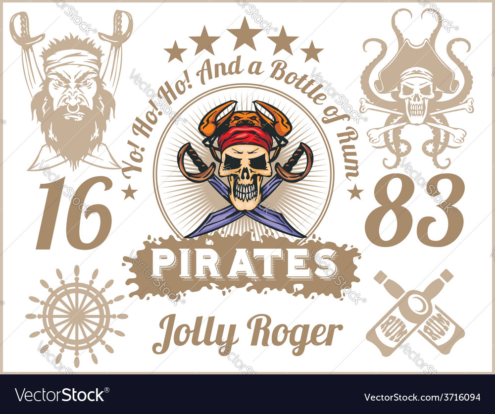 Jolly roger - pirate design elements set vector | Price: 3 Credit (USD $3)