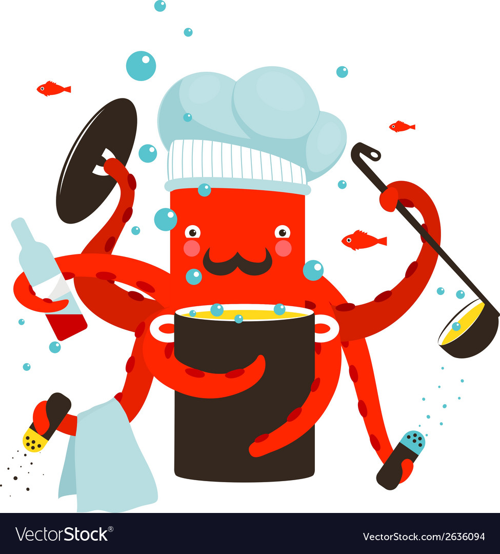 Red octopus chef cooking food vector | Price: 1 Credit (USD $1)