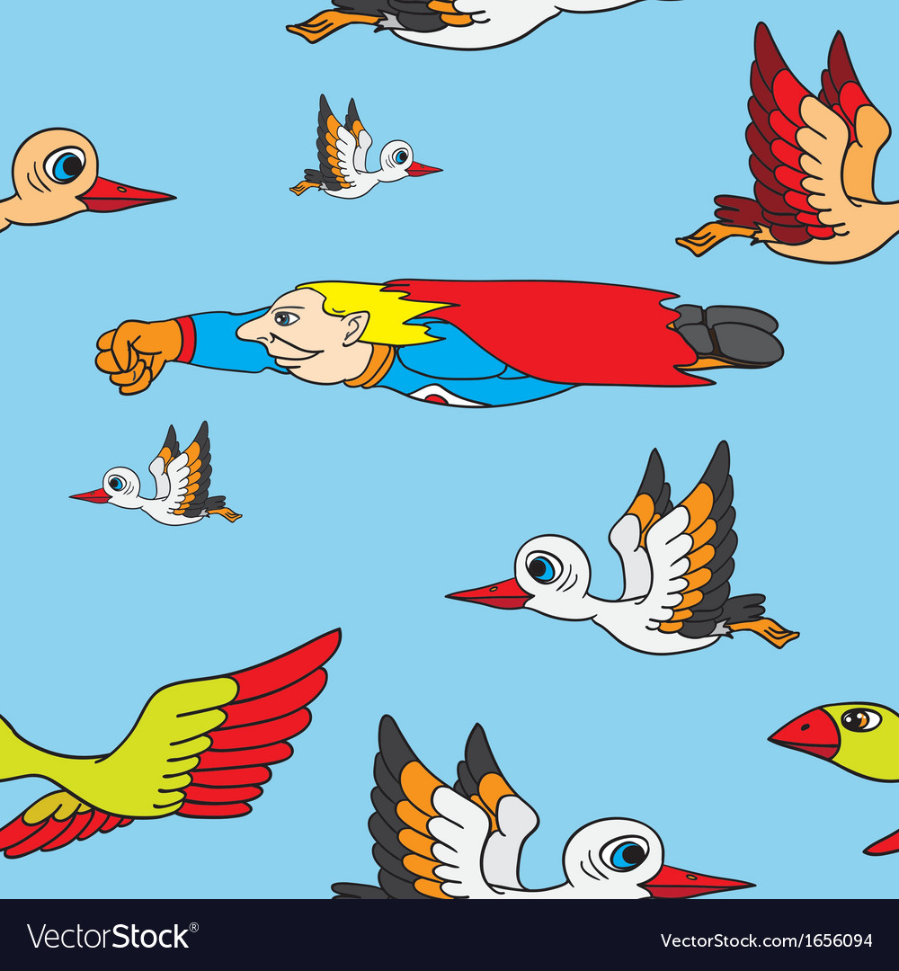 Seamless background birds and superman flying in vector | Price: 1 Credit (USD $1)