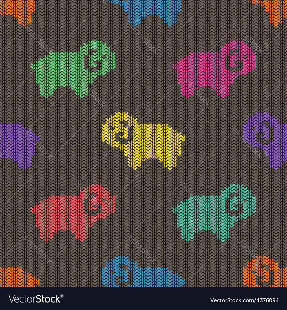 Seamless knitted pattern with sheep vector | Price: 1 Credit (USD $1)