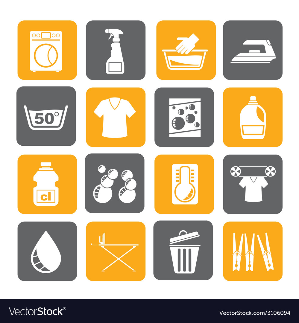 Silhouette washing machine and laundry icons vector | Price: 1 Credit (USD $1)