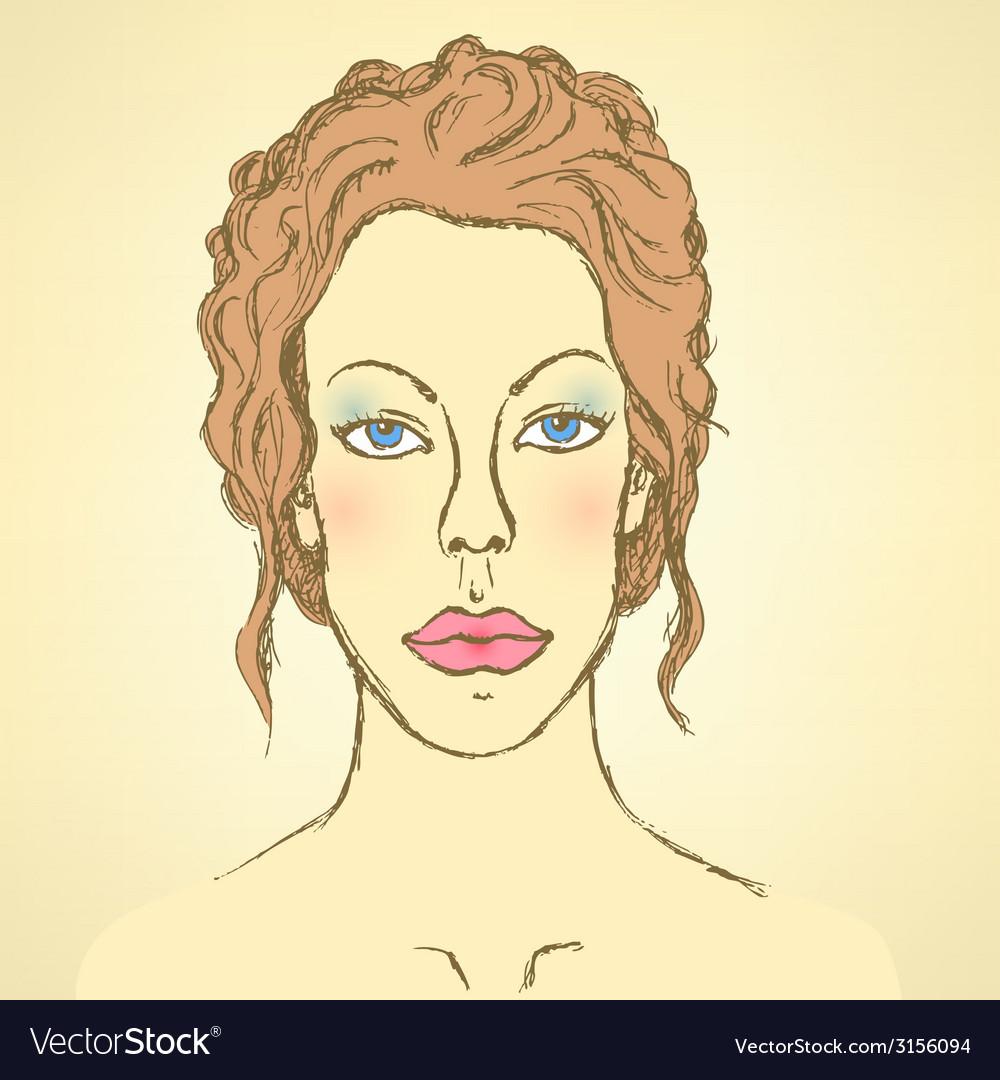 Sketch cute woman face vector | Price: 1 Credit (USD $1)